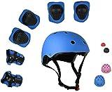 ZIMAX Protección Patinaje, Protección Infantil Consta de Casco Ajustable Rodilleras Coderas, Patinaje Ciclismo Monopatín y Deportes Extremos (Azul)