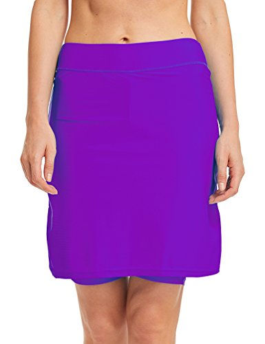 LAUSONS Damen Bikini Hose mit Rock Hoher Taille Strandrock Schwimm Baderock lang Violett DE 42-44 / Etikettes L