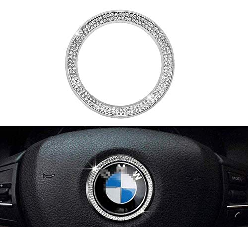 45mm Steering Wheel Logo Caps Compatible with BMW Accessories Parts Trim Covers Decal Sticker Bling Interior Decorations 3 4 5 Series X3 X5 E30 E36 E34 E39 F30 F34 F36 F15 G01 G30 G31 Crystal Silver