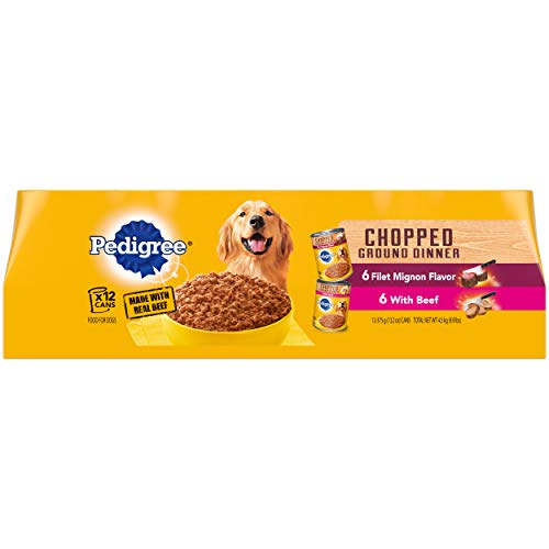 Pedigree Chopped Ground Dinner Adult Canned Soft Wet Meaty Dog Food Filet Mignon Flavor & With Beef Variety Pack, (12) 13.2 oz. Cans