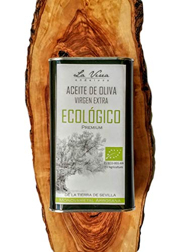 Aceite de oliva virgen extra ECOLÓGICO certificado PREMIUM. Marca La Verea Andaluza. Lata 1 Litro. Proviene de una sola finca, Monovarietal 100% Arbosana. Cultivado sin químicos. Sin Glifosatos.
