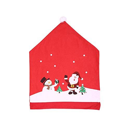 Kacniohen Navidad Silla de Comedor Fundas Novedad de Navidad Santa Claus Red Hat Comedor Cubiertas Silla hacia atrás para el hogar Decoración de Fiesta 4 Piezas