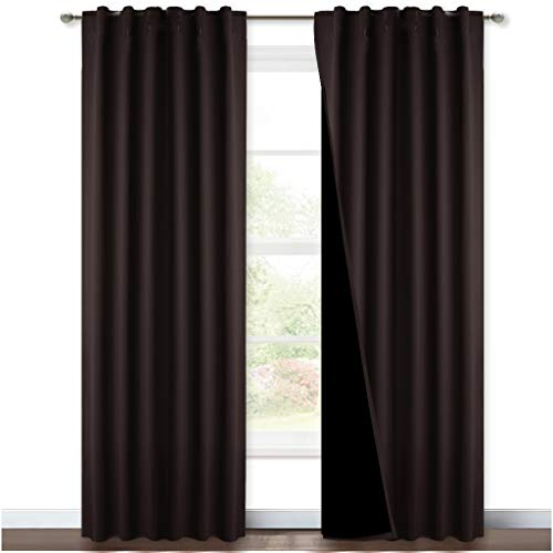 NICETOWN High End Thermal Curtains, Full Blackout Curtains 84 inches Long for Dining Room, Soundproof Window Treatment Drapes for Hall Room, Brown, 52 inches Wide Per Panel, Set of 2 Panels