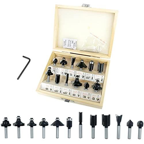 ConPush Set di frese HM 12 pezzi, codolo scanalato, fresa per fresatrice verticale per legno (6mm, Nero)