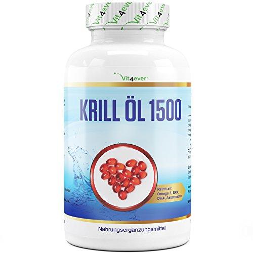 Huile de Krill - 135 capsules - Premium : Huile de Krill de l'Antarctique - Riche en EPA + DHA + Astaxanthine + Phospholipides + Acides gras oméga 3 - Faible teneur en substances nocives