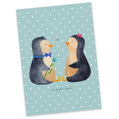 Mr. & Mrs. Panda Biglietto d'auguri, Carta Regalo, Cartolina Postale Coppie di Pinguini - Colore Pastello Turchese