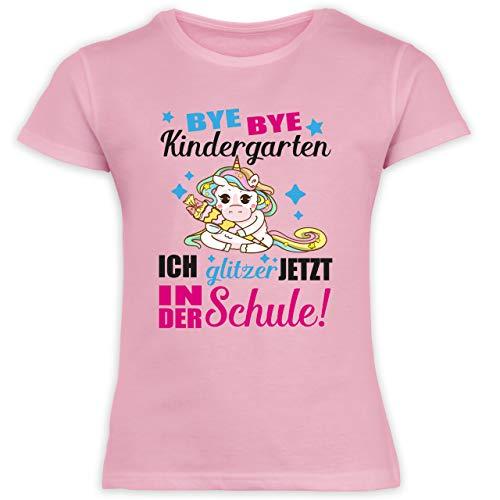Einschulung und Schulanfang - Ich Glitzer jetzt in der Schule Einhorn mit Schultüte - Fuchsia - 128 (7/8 Jahre) - Rosa - Einhorn Glitzer - F131K Schulanfang - Schulanfang Mädchen T-Shirt Kinder