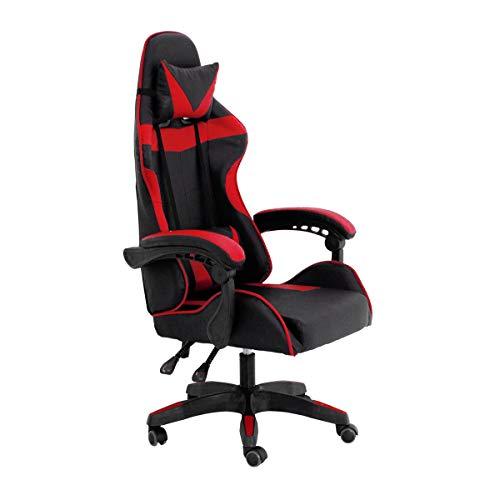 RAC TLV-GC030-RED Silla Gaming PC Videojuegos Racing Oficina Escritorio Despacho Sillon Gamer, Negro - Rojo