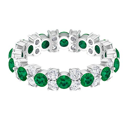 Anillo de turmalina verde de 2,97 quilates, anillo de diamante HI-SI, anillo de eternidad completa, anillo de boda de oro (calidad AAA), 14K Oro blanco, Size:EU 48