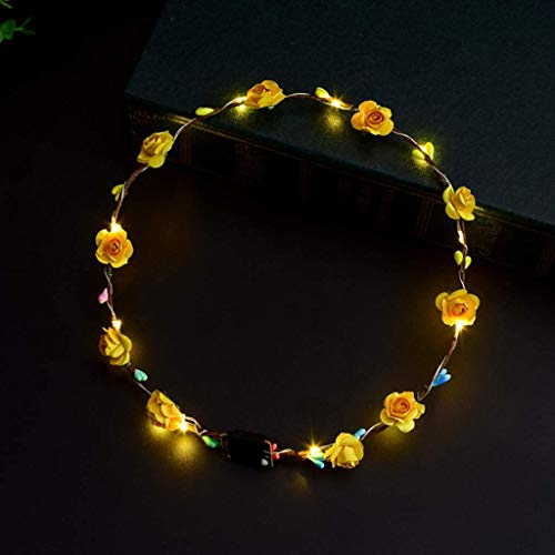SimpleLife Corona di Capelli di Festa Corona di Bagliore di Bagliore di Corona di Fiori incandescente di Donne Ragazze LED (Giallo)