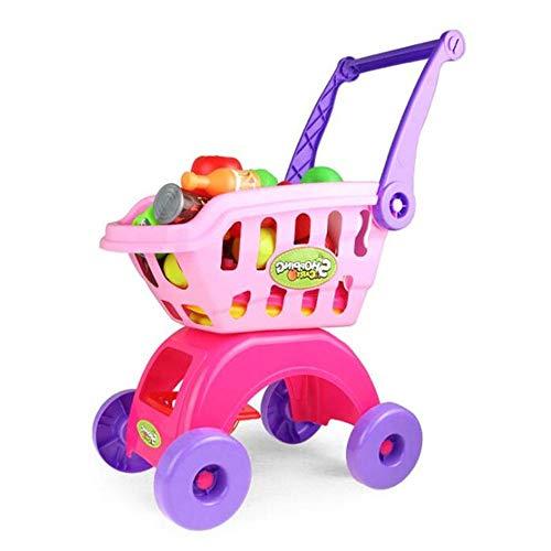 Carrito de Compras de Juguetes La Casita de frutas y verduras conjunto de juguete de bricolaje educación montada temprana Puzzle Compras juguete para Niños y Niñas ( Color : Pink , Size : 40x21x49CM )