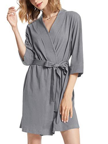 SIORO Robe de chambre en coton kimono pour femme, Gris acier, XXL