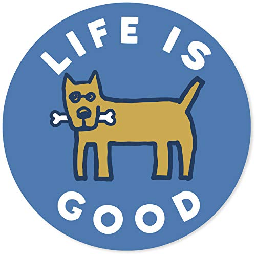 "Life is Good. 4"" Circle Sticker - Rocket Bone - Marina Blue"