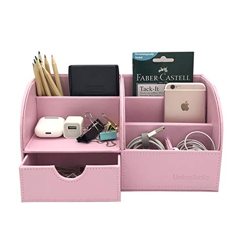 UnionBasic Multifunctional PU Leather Office Desk Organizer Business Card/Pen/Pencil/Mobile Phone/Stationery Holder Storage Box (Pink)