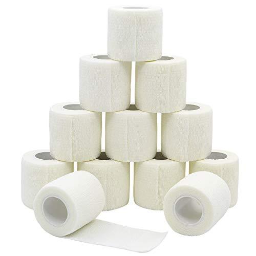 YuMai Vendaje adhesivo Primeros Auxilios Cinta Adhesiva, 5 cm × 4,5 m Pack de 12 aprobado por la FDA - Blanco