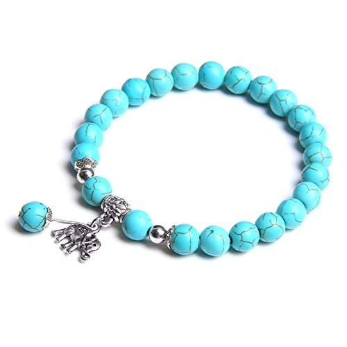 ACEACE Fashion Natural Blue Chalcedony Beads Bracelet Cute Elephant Pendant Charm Bracelet Energy Jewelry Gifts (Length : 21CM, Metal Color : Turquoise)