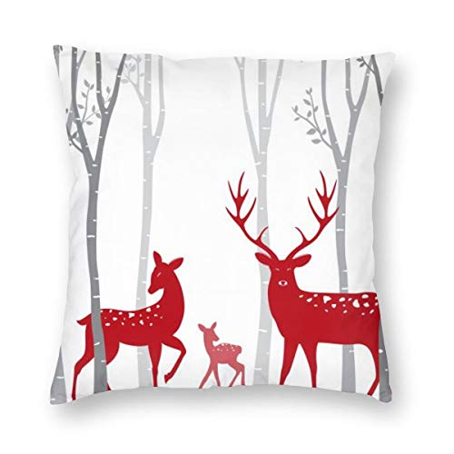 niBBuns Christmas Throw Pillow Cushion Cover,Red Deer with Birch Tree, Decorative Square Accent Pillow Case,White 18x18 inch