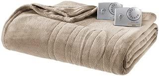 Biddeford Heated Microplush Blanket - Twin Size (Taupe)