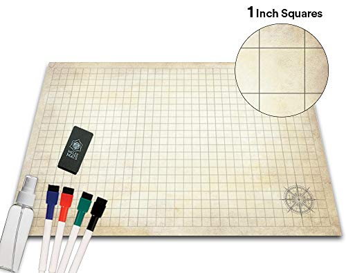 Battle Grid Game Mat 36 X 24 - Portable RPG Table Top Role Playing Map & Dungeons and Dragons Starter Set - DND Tabletop Gaming Mats Map Tiles Keep Reusable Figure Board Games Pieces from Sliding