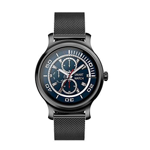 LZXMXR Reloj inteligente, pantalla redonda de alta definición de 1,3 pulgadas, IP67, resistente al agua, recordatorio de mensajes, pulsera multideportiva, para Android e iOS (color acero negro)