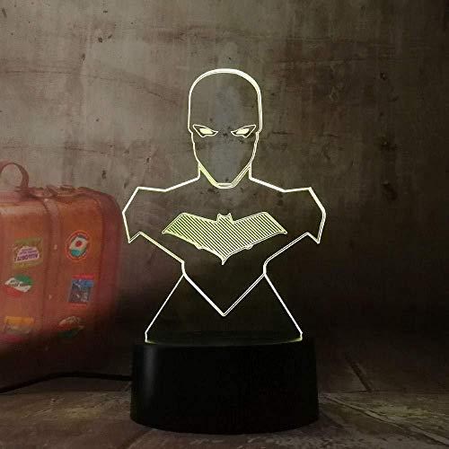 3D Illusion 7 Color Touch Cool Batman DC Sin marca 7 colores Sensor Decoración de la habitación Luces del dormitorio Luces de noche LED para niños Niños Bebé