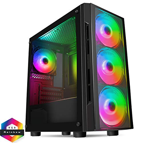 CiT Flash ARGB PC Gaming Case, M-ATX, 4 x 120mm ARGB Rainbow Fans Included,...