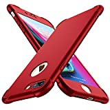 ORETECH Funda Compatible con iPhone 7 Plus et iPhone 8 Plus, con 2 X Protector de Pantalla de Vidrio Templado Carcasa para iPhone 8 Plus Silicona Ligera TPU Bumper Rubber Caso para iPhone 7 Plus Rojo