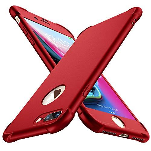 ORETECH Coque Compatible avec iPhone 7 Plus et iPhone 8 Plus,avec 2 x Protecteur D'écran en Verre Trempé Housse Hybride Antichoc Ultra Mince Mat Anti Rayures PC TPU pour iPhone 7 Plus 8 Plus Rouge