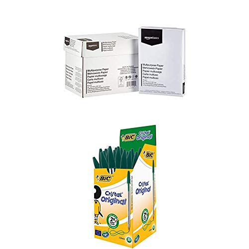 AmazonBasics - Druckerpapier, 5x500 Blatt + BIC Kugelschreiber Cristal Medium – 50 Kulis in Grün – Strichstärke 0,4 mm – Dokumentenecht