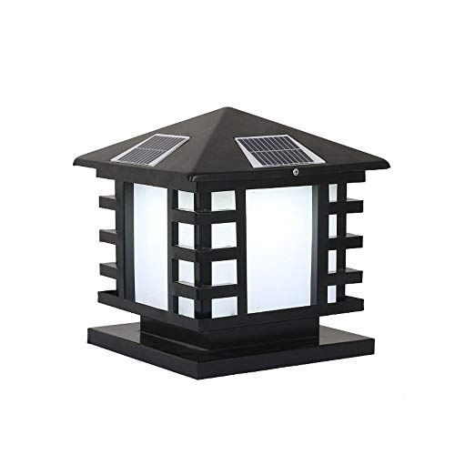KAIKEA Black Solar Frosted Lampshade Pillar Lantern, Outdoor Post Cap Square Fence Light,IP65Athway Patio Wooden Posts Home Lmprovement Post Light Fixtures Light For Fence (Size: 11inches)