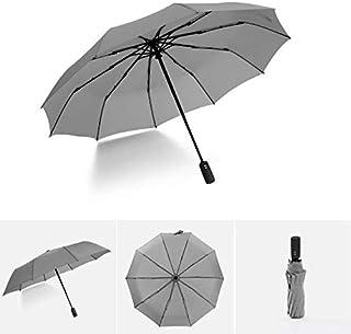 Windproof Travel Umbrella, Sunscreen Parasol Waterproof Folding Umbrella with Flexible Glass Fiber Ribs,Gray