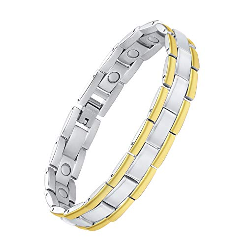 Jeracol Magnetarmband Damen Herren Gesundheit Schmuck Titanstahl Magnetfeldtherapie für Arthritis Schmerzlinderung Magnetisches Armband mit Entfernen Werkzeug und Elegante Geschenkbox