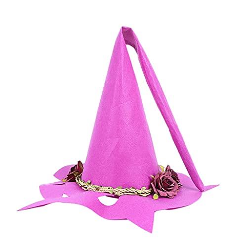 Sharplace Sombrero de Bruja de Halloween, Sombrero de Bruja de Halloween Moderno, Sombreros de Fiesta, Disfraz de Cosplay para nias y Mujeres - Rojo prpura