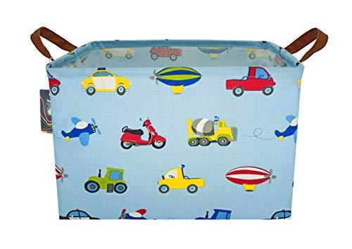 HKEC Rectangle Storage Basket with Handles, Collapsible Storage Box Cute Canvas Organizer Bin for Pet/Kids Toys, Books/Playroom Organization/Toy Bin/Closet/Shelf Baskets/Baby Hamper(Car)