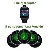 1 Reloj Receptor Pantalla TACTIL A Color - Interfaz EN ESPAÑOL - LLAMADOR Camarero + 5 PULSADORES (1 Boton) - LLAMADOR Camarero, LLAMADOR INALAMBRICO, Botones INALAMBRICOS