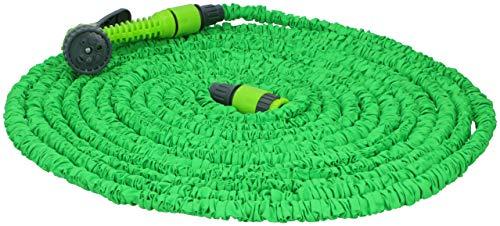 Kinzo 317549-1 Gartenschlauch ausziehbar bis zu 30 m mit Multifunktions-Pistole, grün