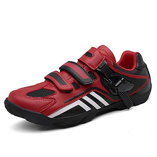 Sebasty Zapatillas De Ciclismo De Cuero Real,Zapatillas De Ciclismo MTB para Hombre,Zapatillas De Bicicleta De Carretera para Deportes Al Aire Libre,Zapatillas De Bicicleta De Carreras,Red42