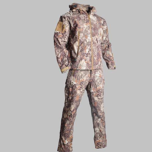 Muchen Veste tactique pour homme - Veste softshell - Imperméable - Style militaire - Avec pantalon - Taille XL