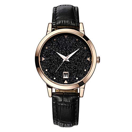 QHG Relojes para Mujer Banda de Cuero Impermeable Mujeres Girls Ladies Cuarzo Relojes de Pulsera Moda Reloj de Vestir de Mujer Dama Starry Sky Reloj Reloj Movimiento de Cuarzo (Color : A)