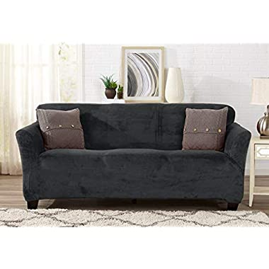 Great Bay Home Modern Velvet Plush Strapless Slipcover. Form Fit Stretch, Stylish Furniture Cover/Protector. Gale Collection by Brand. (Sofa, Dark Grey)