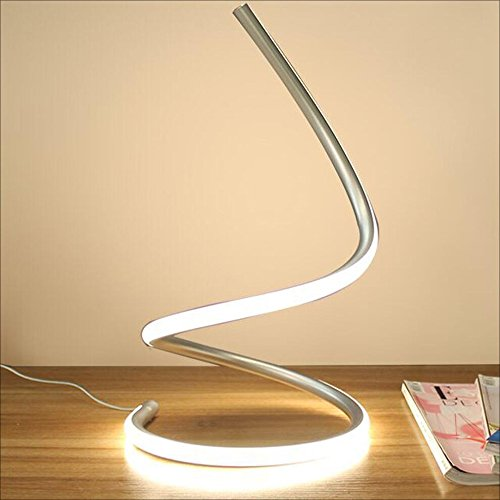 Modeen 40W Lámpara de mesa LED espiral lámpara de escritorio moderna del LED lámpara de cabecera del dormitorio acrílico elegante perfecto para la sala de estar del dormitorio (Silver)