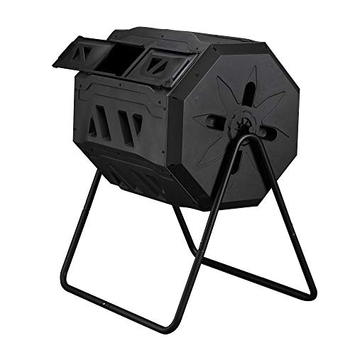 TUFFIOM Garden Composting Tumbler, 42 Gallon Capacity with 2 Chambers Dual Rotating, Outdoor Yard Compost Bin,w/Sliding Door & Solid Steel