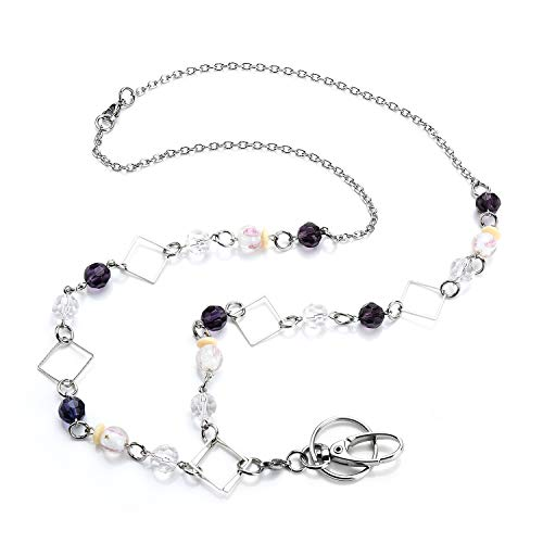 LUXIANDA Women's Exquisite Design Lanyard Unique Lanyard Office Lanyard Badge ID Keys Holder for ID Keys, Badge Holder,Durable Stainless Steel Chain
