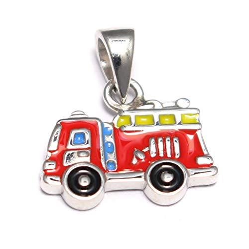 Kleiner Feuerwehrauto Anhänger 925 Sterling Silber, Feuerwehrmann Kettenanhänger Silber, Kinderschmuck 925 Ketten Anhänger