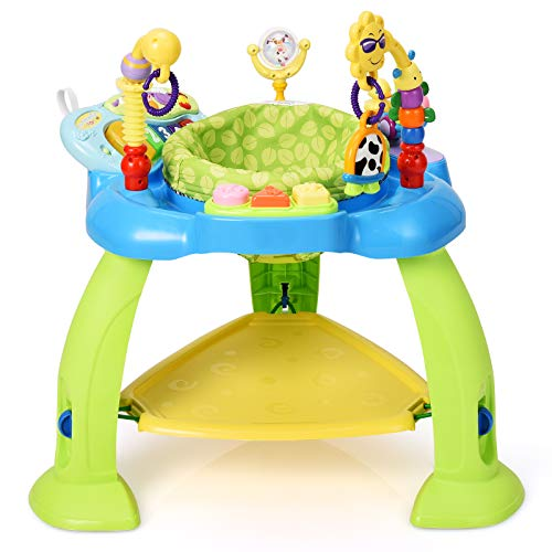 BABY JOY 2-in 1 Infant Activity Center, Baby Jumper w/360-Degree Rotating Seat, 3 Adjustable Height, Lights, Music, Piano, Toys, Sit-to-Stand Interactive Station for 6-36 Months (Green)