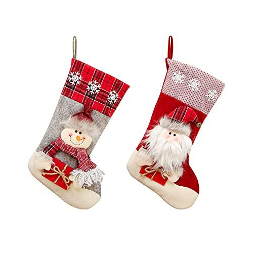 Calcetín Navidad 2 piezas Grande Juego Medias de Navidad Bolsa de Regalo Adorno de Navidad Bolsa de Dulces Calcetín de Decoración Navideña para llenar y Colgar para Fiestas Navideñas Familiares