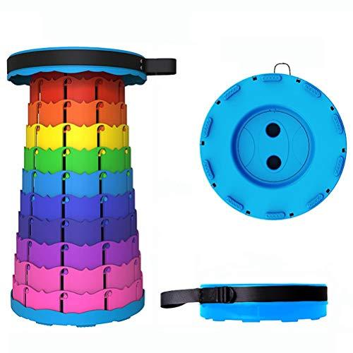 Akemaio Taburete telescópico portátil, taburete extensible para camping, de plástico, plegable, ligero, ajustable, para senderismo, baño
