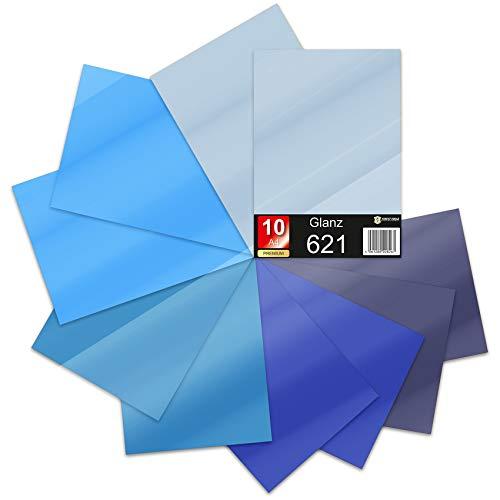 10 x Din A4 Bögen Plotterfolie 621/631 Selbstklebende Folie im Set Vinyl zum Plotten DIY Bastelfolie Sticker Beschriftung Aufkleber 29,7x21cm (Blautöne Matt, 10er Set)