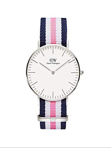Daniel Wellington Classic Southampton, Blau-rosa-weiß/Silber Uhr, 36mm, NATO, für Damen und Herren