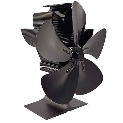 ACAMPTAR Ventilador de Estufa de Leea de 5 Palas: el Quemador de Leea Accionado por Calor Aumenta 80% MáS Aire Caliente Que 2 Palas EcolóGico con TermóMetro de Estufa Negro